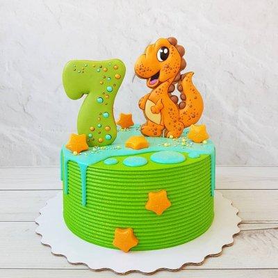 Торт с динозаврами №6