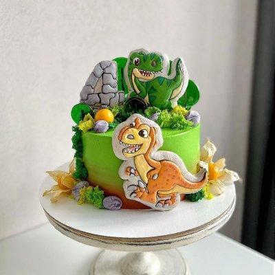 Торт с динозаврами №14