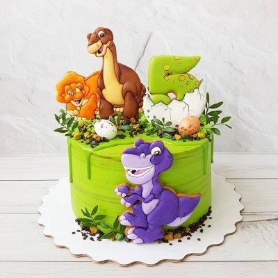 Торт с динозаврами №11