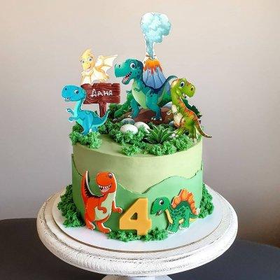 Торт с динозаврами №7