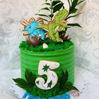 Торт с динозаврами №17