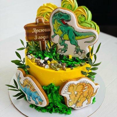 Торт с динозаврами №18