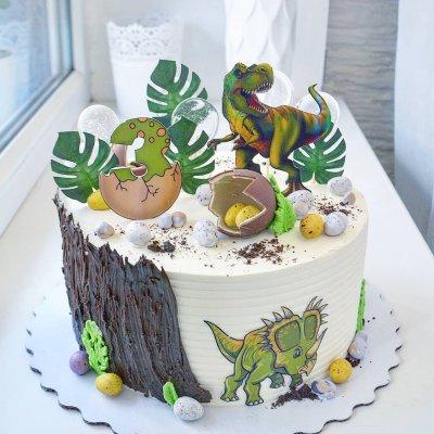 Торт с динозаврами №16