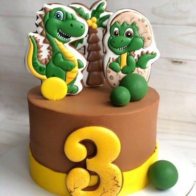 Торт с динозаврами №15
