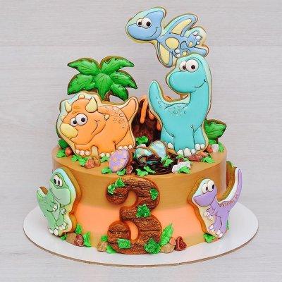 Торт с динозаврами №4
